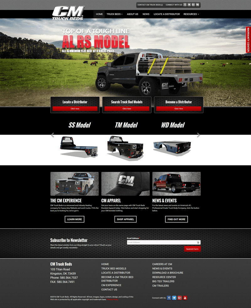 CM Truck Beds homepage